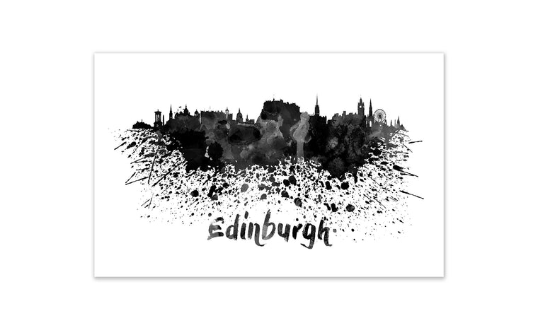 Black and White World Splatter Skyline Edinburgh