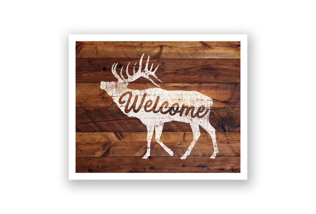 Wooden Wall Art - Elk Welcome