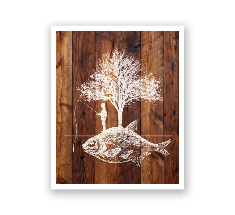 Wooden Wall Art - Fishing Island