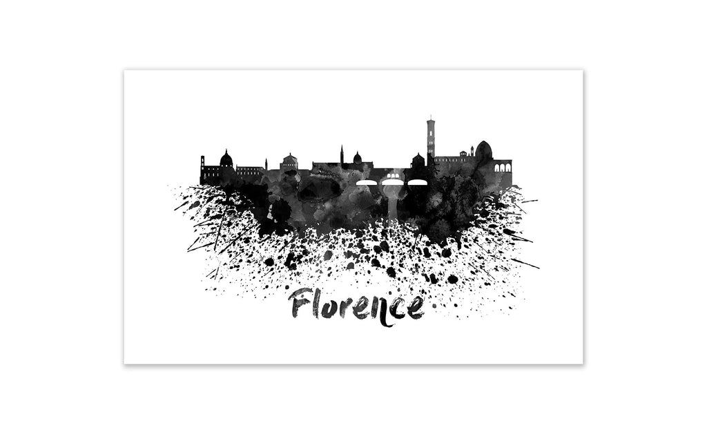 Black and White World Splatter Skyline Florence