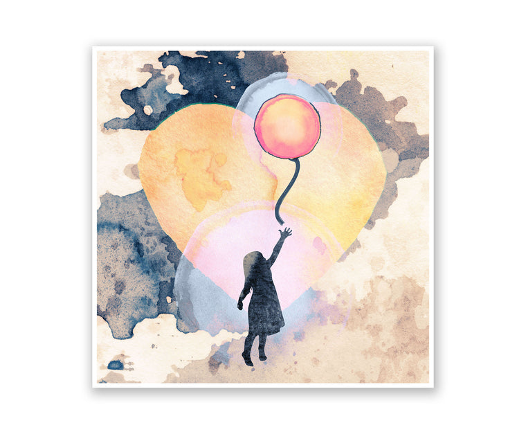 Fly Away Balloon Watercolor Silhouette