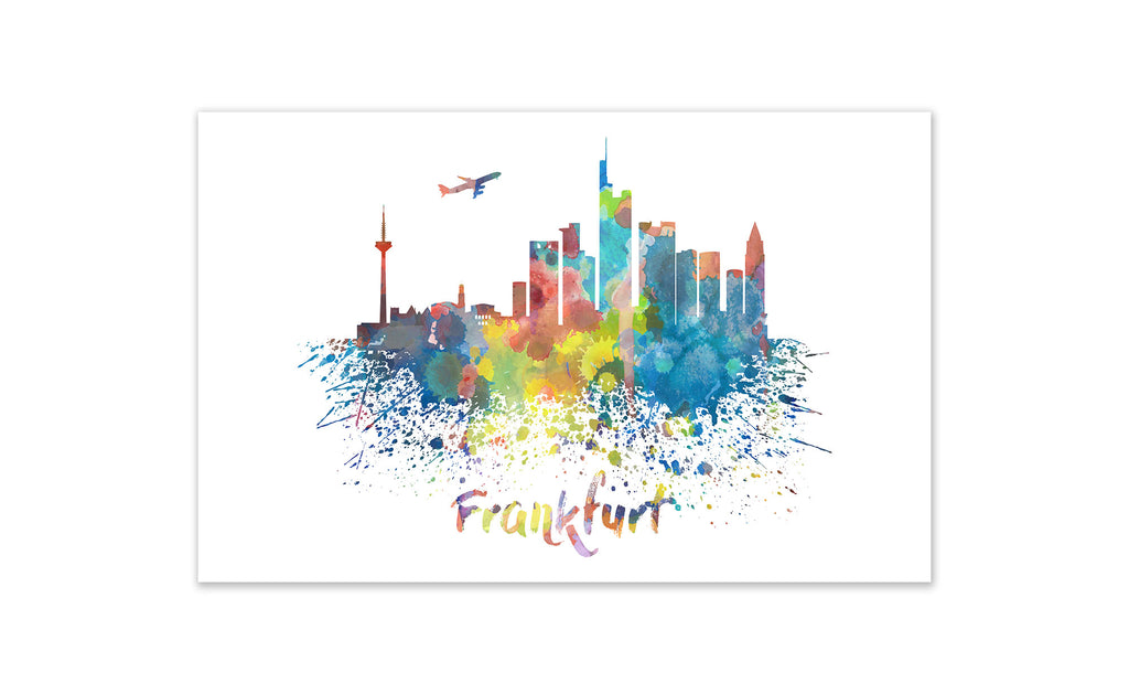 World Watercolor Skyline - Frankfurt