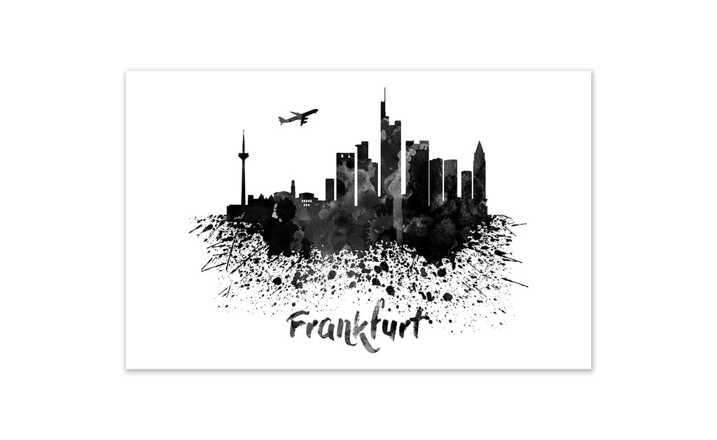 Black and White World Splatter Skyline Frankfurt
