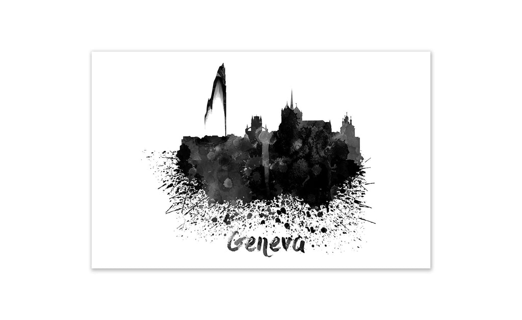 Black and White World Splatter Skyline Geneva