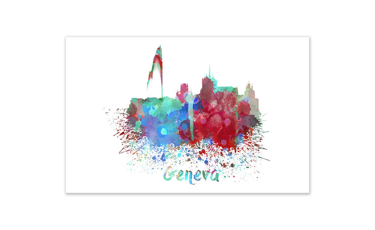 World Watercolor Skyline - Geneva