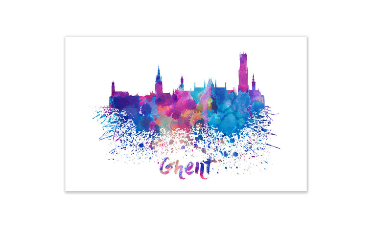 World Watercolor Skyline - Ghent