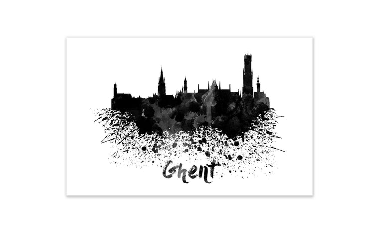 Black and White World Splatter Skyline Ghent