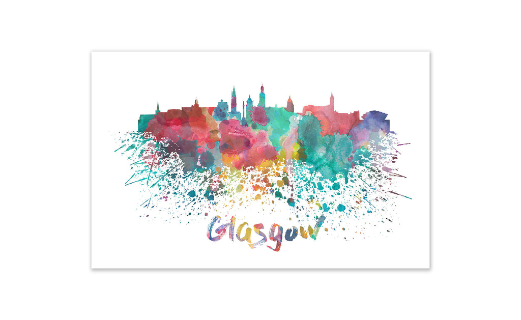 World Watercolor Skyline - Glasgow