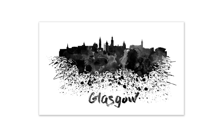Black and White World Splatter Skyline Glasgow
