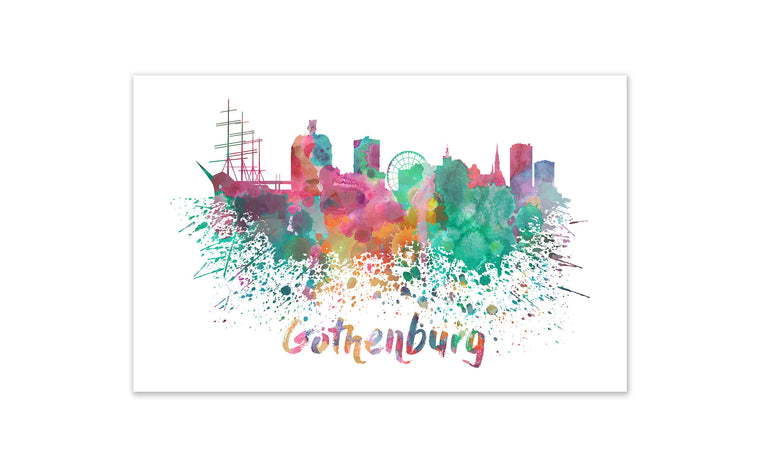 World Watercolor Skyline - Gothenburg