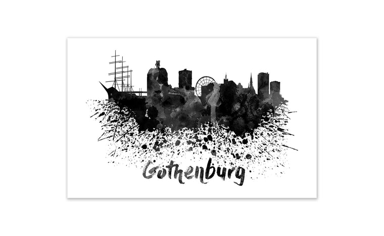 Black and White World Splatter Skyline Gothenburg