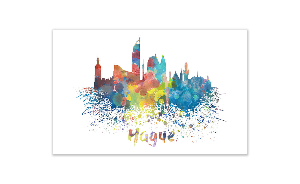 World Watercolor Skyline - Hague
