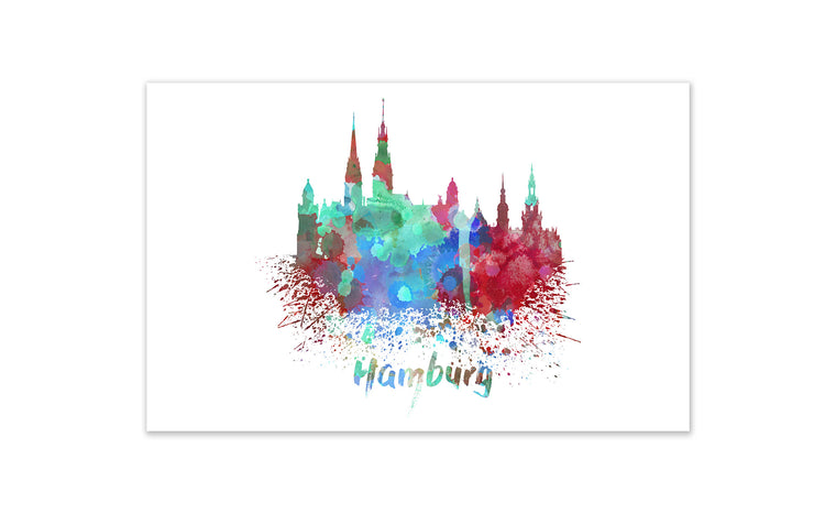 World Watercolor Skyline - Hamburg
