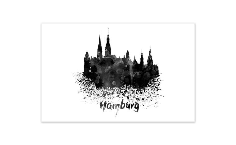 Black and White World Splatter Skyline Hamburg