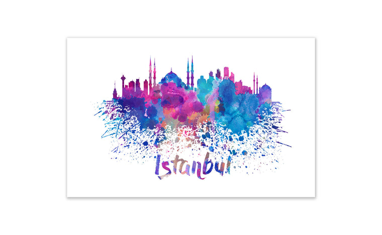 World Watercolor Skyline - Istanbul