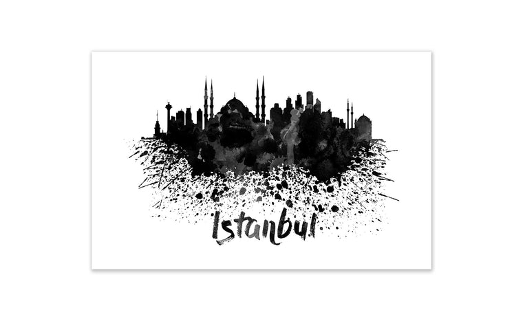 Black and White World Splatter Skyline Instanbul