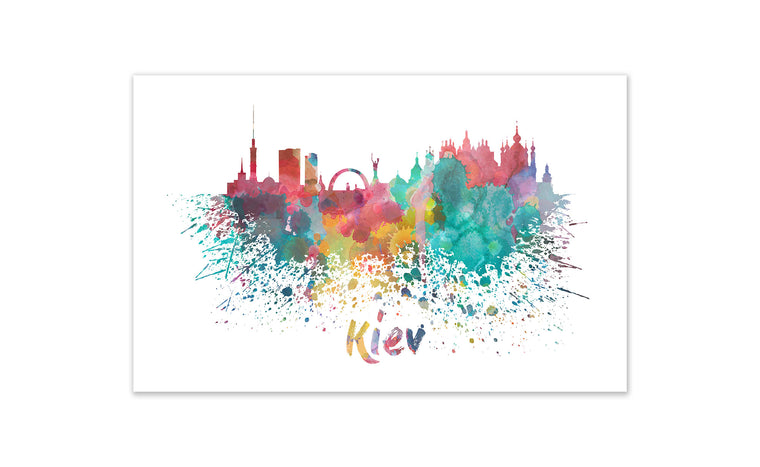 World Watercolor Skyline - Kiev