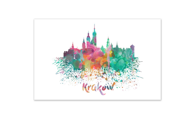 World Watercolor Skyline - Krakow