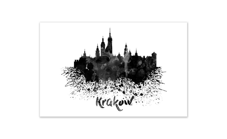 Black and White World Splatter Skyline Krakow