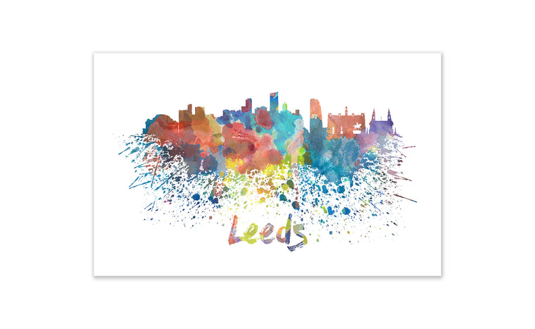World Watercolor Skyline - Leeds