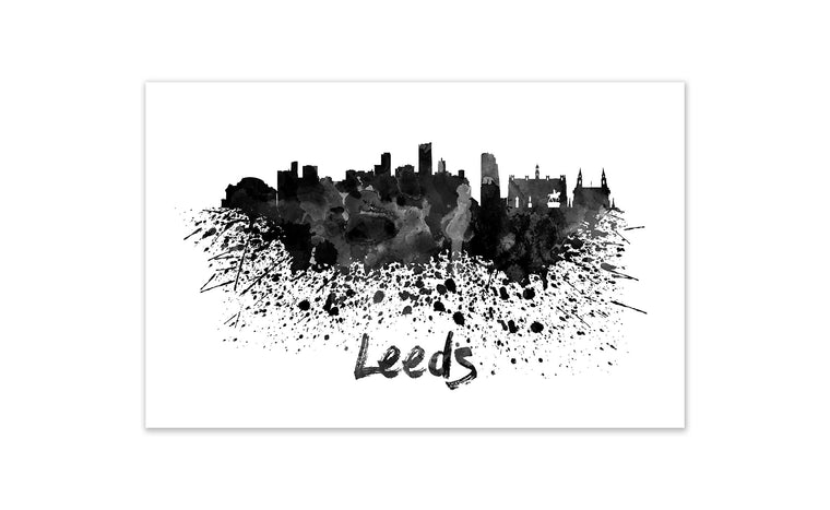 Black and White World Splatter Skyline Leeds