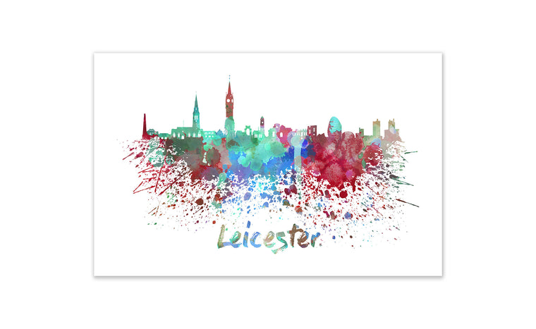 World Watercolor Skyline - Leicester