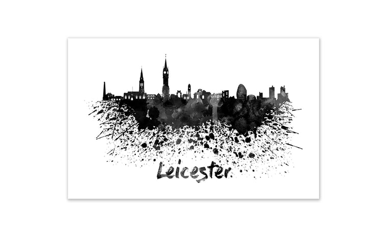 Black and White World Splatter Skyline Leicester