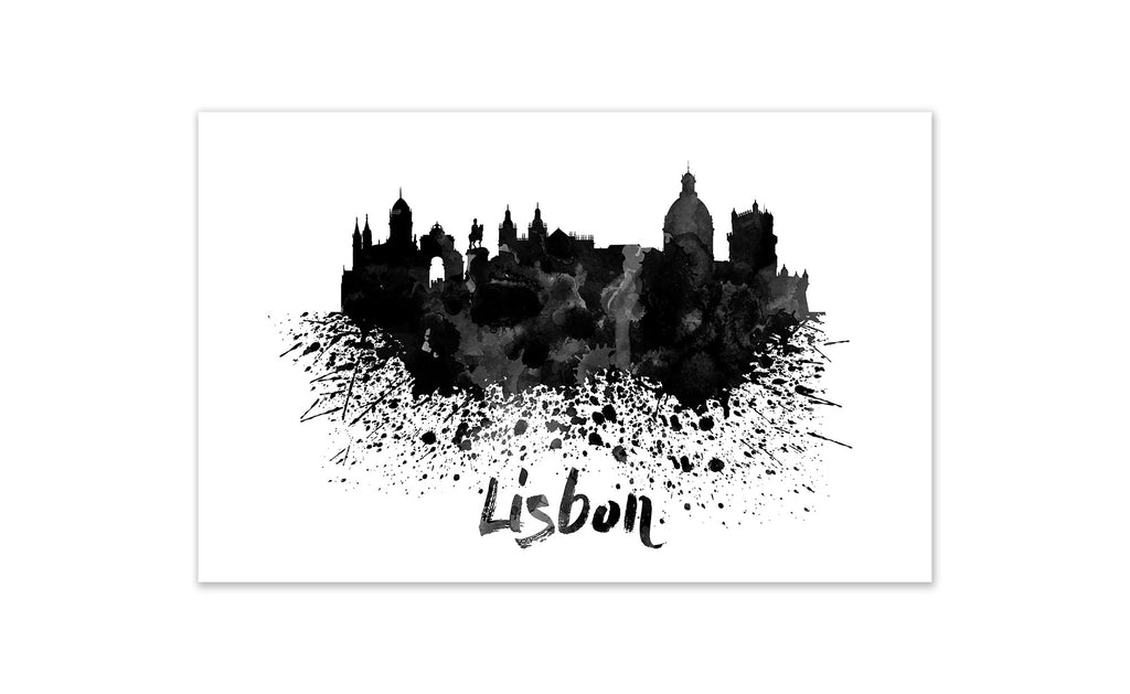 Black and White World Splatter Skyline Lisbon