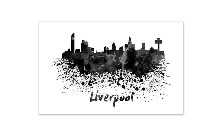 Black and White World Splatter Skyline Liverpool