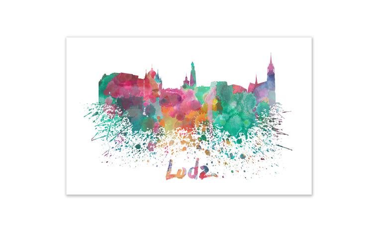 World Watercolor Skyline - Lodz