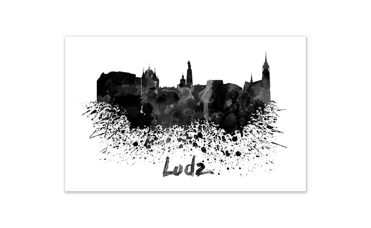 Black and White World Splatter Skyline Lodz
