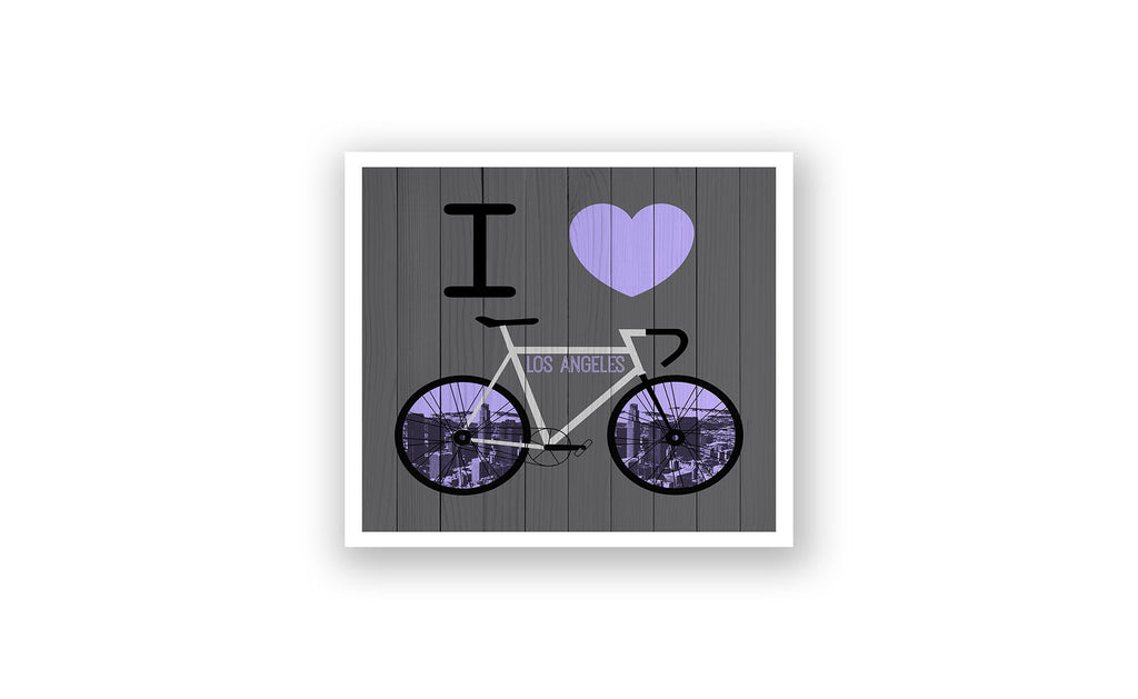 Los Angeles City Skyline Bicycle At