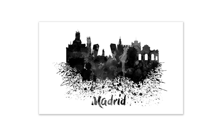 Black and White World Splatter Skyline Madrid