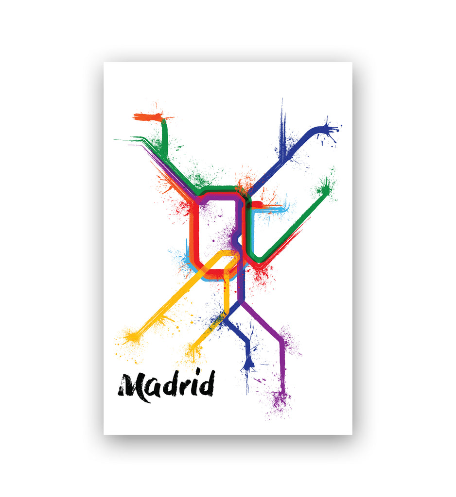 World Splatter Railroad Map Madrid