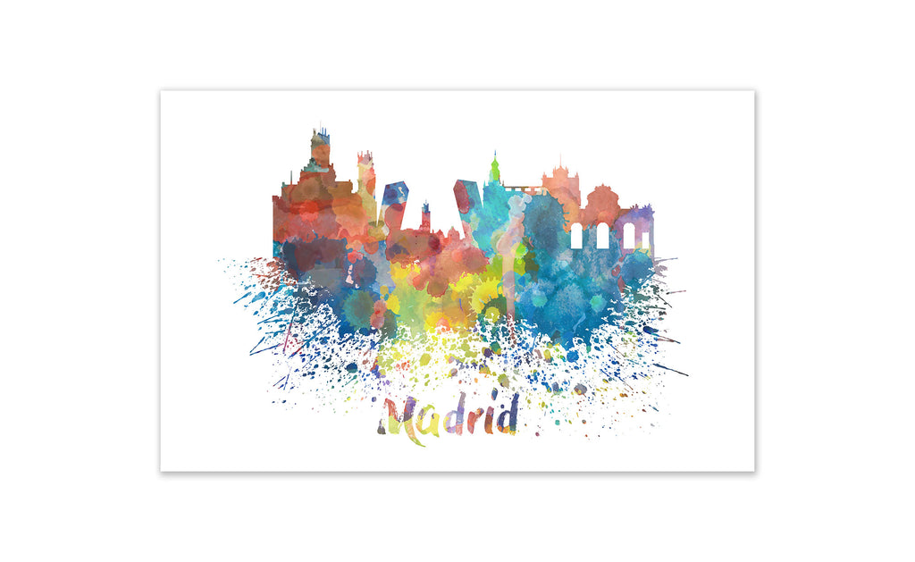 World Watercolor Skyline - Madrid