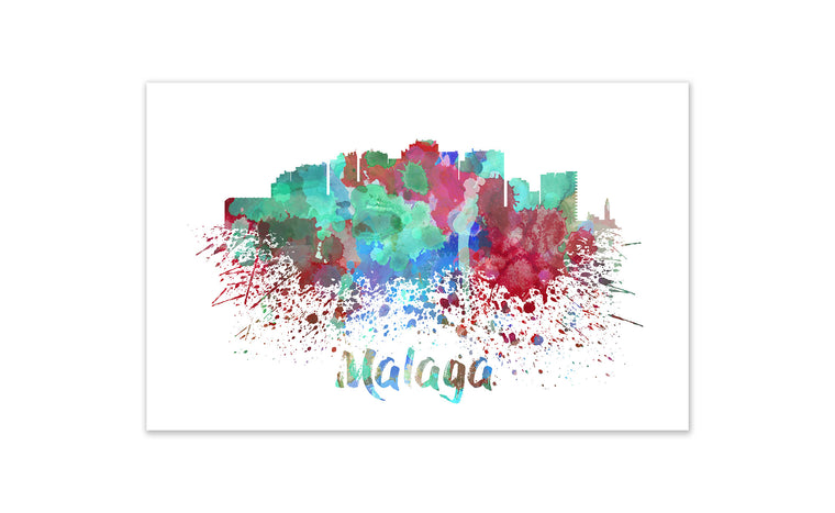 World Watercolor Skyline - Malaga