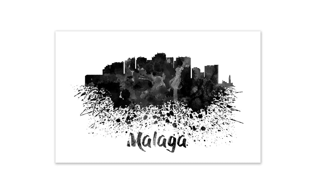 Black and White World Splatter Skyline Malaga