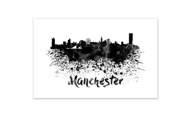 Black and White World Splatter Skyline Manchester