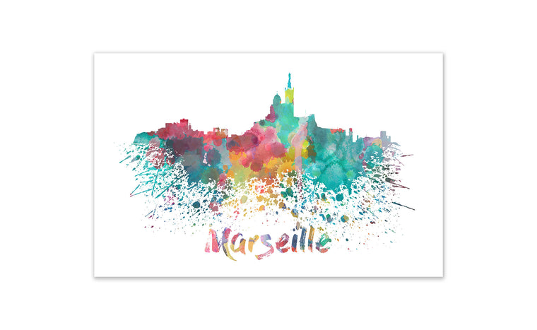 World Watercolor Skyline - Marseille