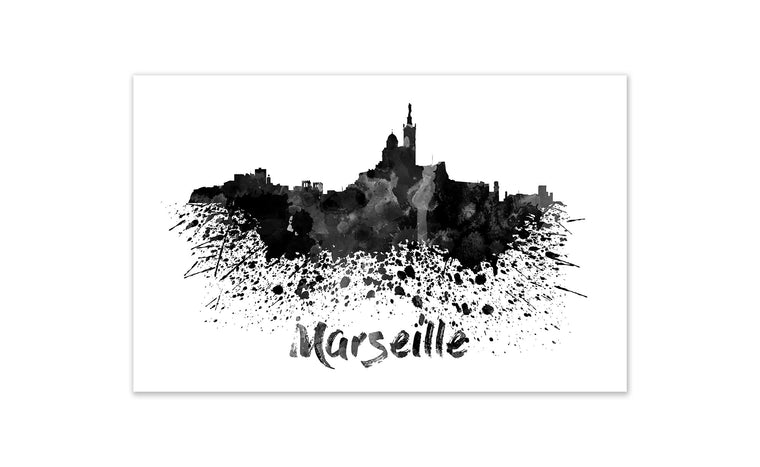 Black and White World Splatter Skyline Marseille