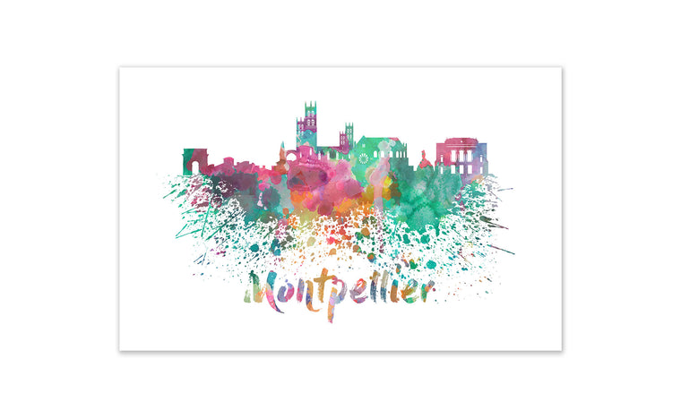 World Watercolor Skyline - Montpellier