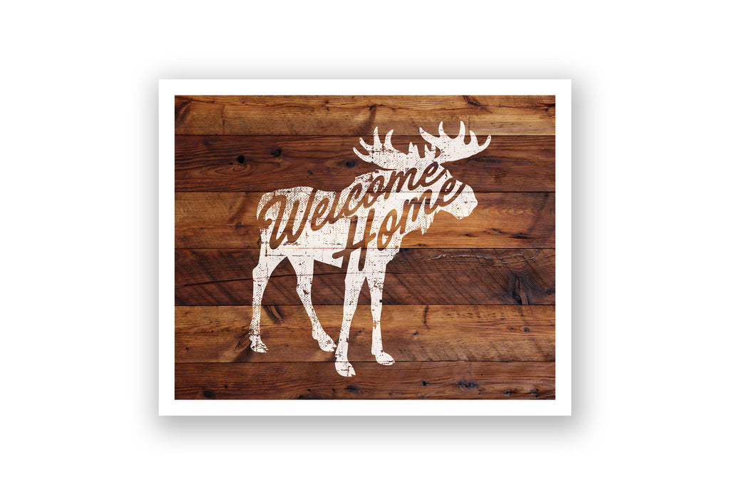 Wooden Wall Art - Moose Welcome Home