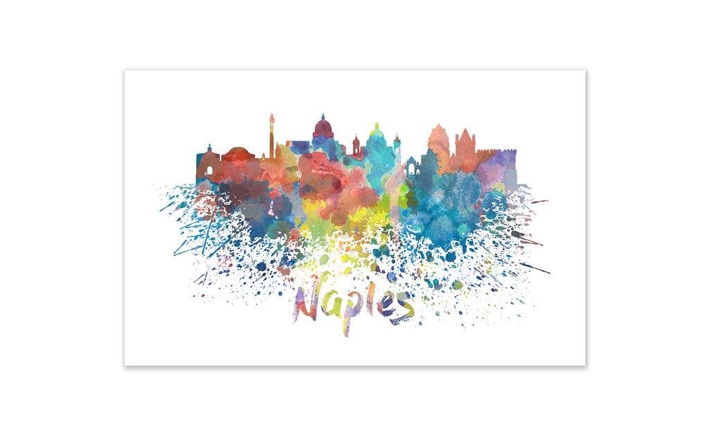 World Watercolor Skyline - Naples