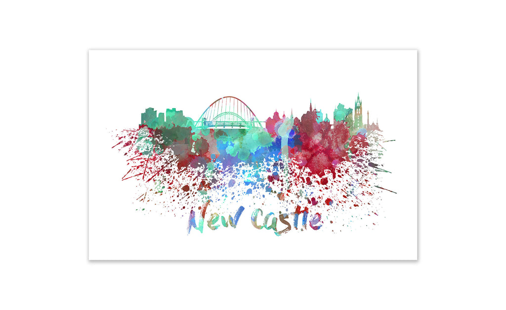 World Watercolor Skyline - New Castle