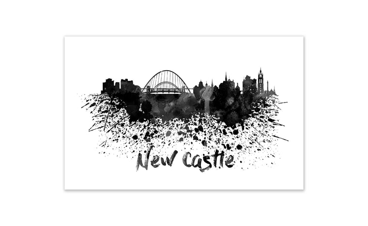 Black and White World Splatter Skyline NewCastle