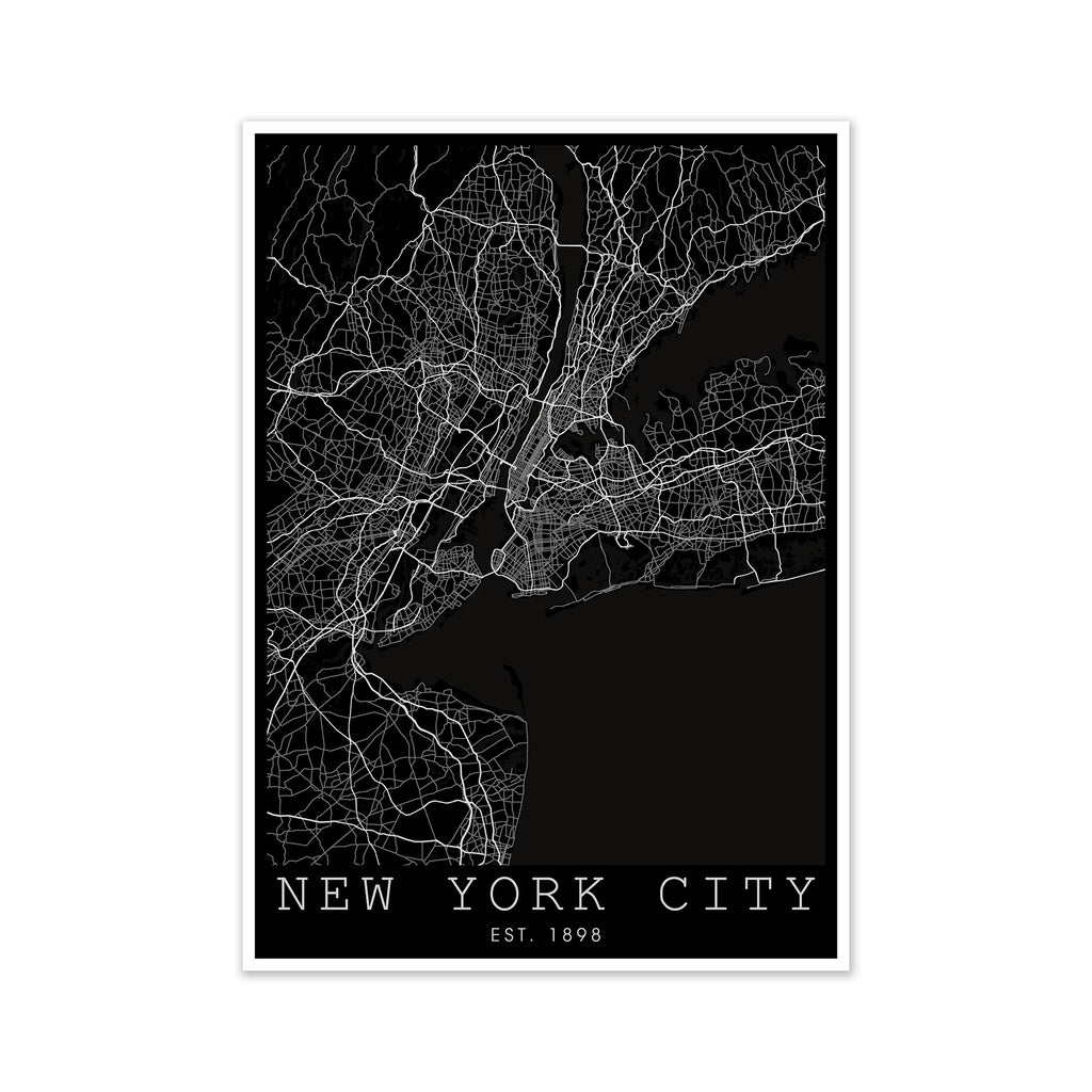 New York City Map Inverted
