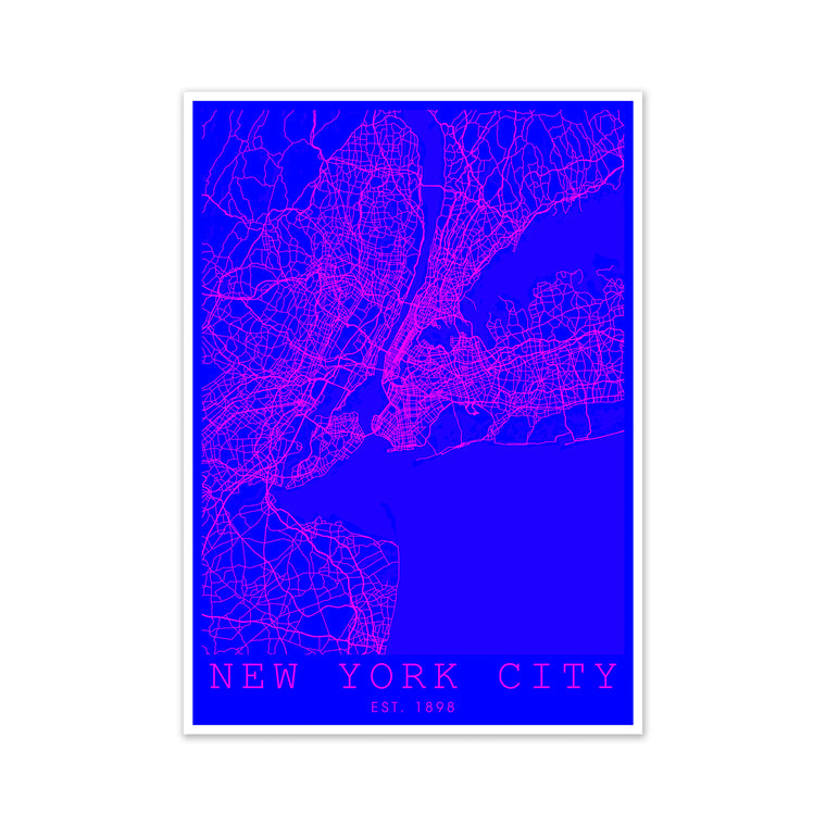 New York City Map Pink and Blue
