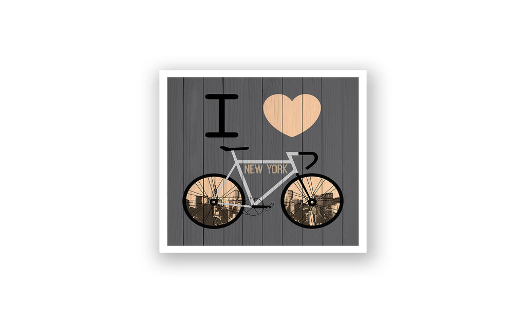 New York City City Skyline Bicycle At