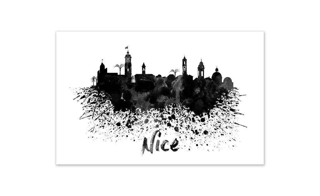 Black and White World Splatter Skyline Nice