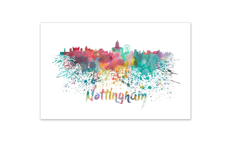 World Watercolor Skyline - Nottingham